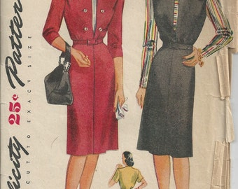 40s Simplicity 1213 Dress and Dickey Pattern Size 18 B36
