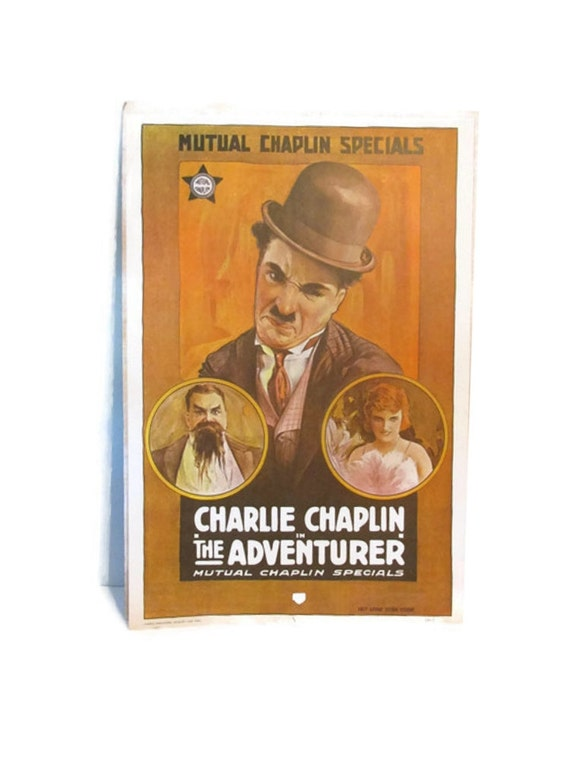 vintage charlie chaplin movie poster reproduction 1970s