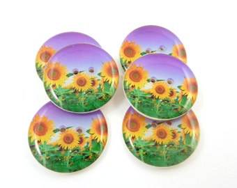 "6  Sunflower Buttons.  LARGE Yellow Sunflowers on Purple Sewing Buttons. 1"" or 25 mm Round.  Handmade By Me. Washer and Dryer Safe."