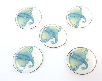 "5 Stingray Buttons.  Handmade buttons.  Decorative Craft Novelty Sewing Buttons. 3/4"" or 20 mm round."