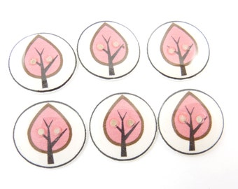 "6 Handmade Buttons.  Pink and Black Tree Buttons. 3/4"" or 20 mm."