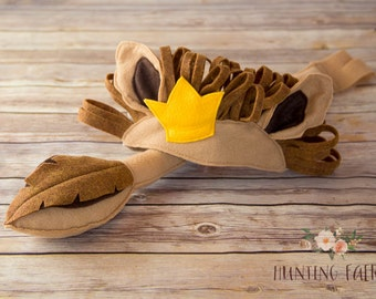 Leo the Lion King of the Jungle Ears Headpiece and Tail With or Without Crown