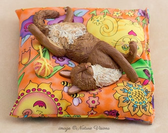 Ginger Cat Sculpture, Handmade Cat Lover Gift, Custom Polymer Clay Orange Cat on Cushion