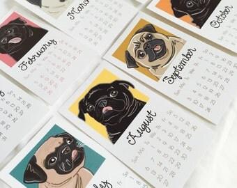 Pug Calendar - 2017