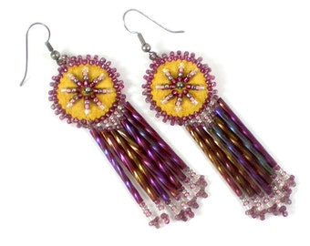 Native American Earrings - Tribal Earrings - Pierced Dangle Beaded Earrings - Vintage Boho Hippie Jewelry