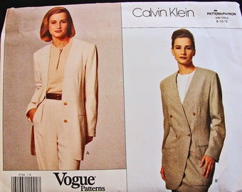 Womens Double Breasted Jacket Pattern, Vogue Pattern, designer Calvin Klein, Long Jacket, Size 8 10 12 UNCUT
