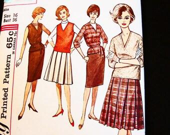 1960s Skirt Pattern Misses size 16 Bust 36 Womens Preppy School Blouse, V Neck Jerkin Vest, Slim Skirt, Pleated Skirt Vintage Pattern