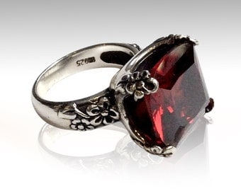 Large stone ring, rose cut stone ring, garnet ring, Floral Silver Ring, alternative engagement ring, statement ring - Hello spring R2272-1