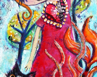 Jubilate, Mixed Media Original 10 X 20 stretched canvas, modern contemporary,raw outsider folk art