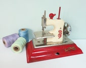 Sew-O-Matic Senior Toy Sewing Machine, Little Betty, Made by Straco, Vintage, Red and Cream