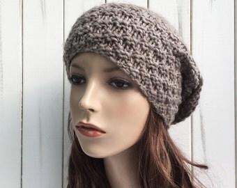 Hand knit slouchy woman Wool Hat woman winter hat oatmeal