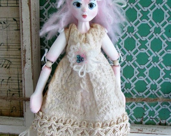 SUMMER CHILDREN, Bunny Girl puppet clay jointed hanging doll handmade in the USA