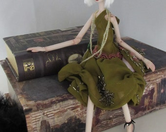 CLARA, porcelain fashion doll, jointed puppet art doll, handmade in the USA