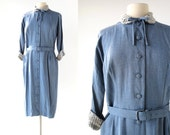 1950s Blue Dress / Daystar / 50s Dress / Gabardine and Rhinestone Dress / 1950s Dress / M L