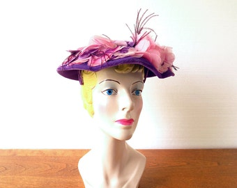 Vintage 1950s Hat / Purple Velvet Hat / 50s Hat / Floral Hat