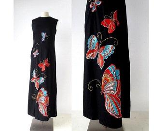 70s Maxi Dress | Butterfly Dress | 1970s Dress  XS