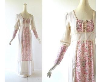 Bohemian Maxi Dress | 70s Prairie Dress | Vintage 1970s Dress | XS