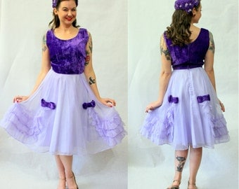 1950s purple velvet and lavender skirt dress with matching flower hat