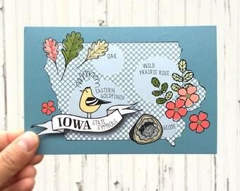 POSTCARD: Iowa Symbols