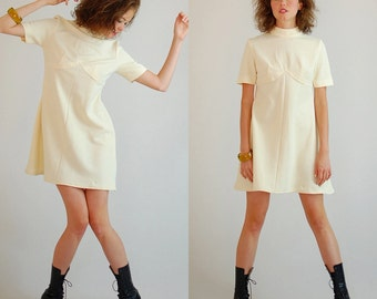 Mod Mini Dress Vintage 60s Cream Double Knit Empire Mod Mini Dress (s m)