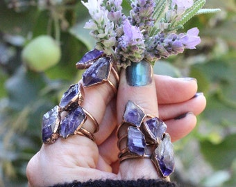Raw Amethyst Ring Raw Crystal Ring Raw Crystals and Stones Copper Crystal Ring Amethyst Crystal Ring Bohemian Ring Raw Stone Ring Raw Stones