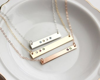 Birthstone Bar Necklace - Personalized Birthstone Necklace, Birthstone Bar Gift for Mom Custom Gold Bar Necklace, Personalized Gift for Mom