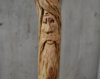 Dogwood Walking Stick, Wood Spirit Walking Stick Carving, Hand Carved Wizard Staff, Mountain Man Wood Carvers of Etsy, 1375