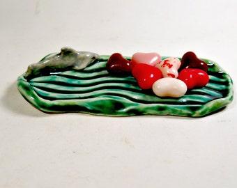 Shark Soap Dish Tea Bag Holder or Spoon Rest Ceramic Miniature Home Decor Gift for Boy