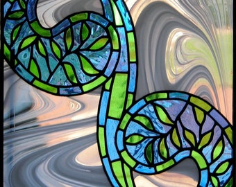 Paisley Swirl decorative stained glass panel