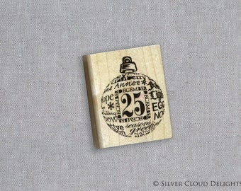 Christmas Stamp - Rubber Stamp - December 25 Round Ornament Wood Mounted Rubber Stamp - Inkadinkadoo 98220 Wood Stamp - Holiday Rubber Stamp