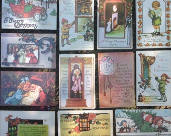 Lot of 119 Vintage Christmas and New Year's Postcards