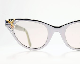 TURA Cat Eye Glasses Sunglasses - Floral Etched Chrome Gloss Steel Metal Optical Frame 44/20