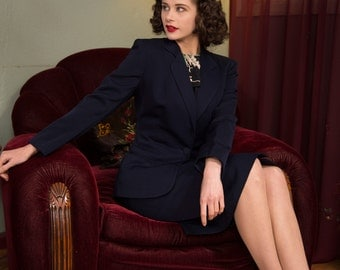 1940s Vintage Suit - Smart Navy Blue Gabardine Skirt Suit with Strong Shoulders, Single Button Closure and Straight Skirt