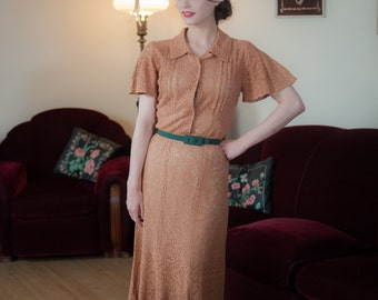 Vintage 1930s Dress - Stunning Dusty Melon Sheer Cotton Lace 30s Gown with Flutter Sleeves and Deco Lines