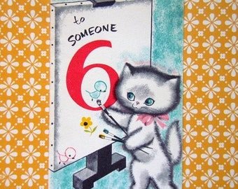 Vintage UNUSED 1960 Birthday Greeting Card Cute Kitten Painting a Picture