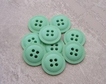 Slender Green Buttons, 15mm 5/8 inch - Satin Matte Mint Green Sewing Buttons - 9 VTG NOS Pastel Green Sew Through Plastic Buttons PL526