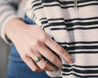 stacking rings, brass, turquoise, malachite, arch, thin bands, open ring, sunburst, pear, trio // GOBI STACK