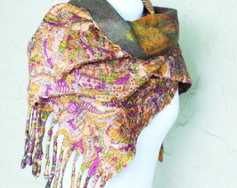 Nuno Felted Wrap, Large Scarf, Printed Silk, Extra Fine Merino Wool, Olive Green, Mustard Yellow