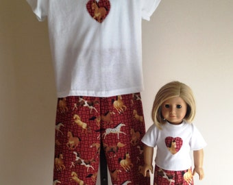 Dreaming of Horses Matching Pjs for American Girl Doll and Girl