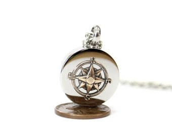 Bronze Compass Rose Urn Necklace Cremation Urn Nautical Pendant Memorial Ash Keepsake  Key Chain Option 507