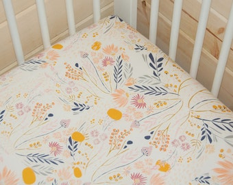 floral baby bedding- floral crib sheet- floral mustard fitted sheet / mini crib sheet/ changing pad cover