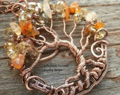 Wire Wrapped Tree of Life Bonsai Pendant, Citrine & Carnelian beads, Handmade Jewelry, Antiqued Copper Wire Tree Jewelry, Perfectly Twisted