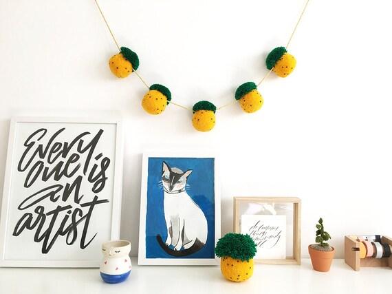 Pineapple Pom Pom Garland, wall decor, gift