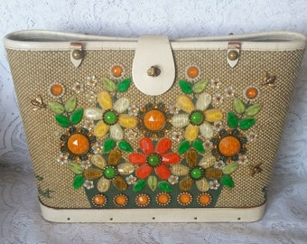 Beautiful Enid Collins Handbag, Flower Basket, Needing a New Leather Handle