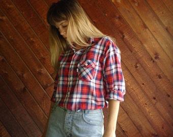 Levis Red Plaid Western Shirt - Vintage 70s - S M