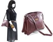 Burgundy Leather Purse Vintage 70s Structured Bag