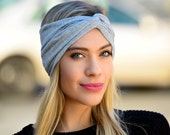 Headband Women's Turban Headband Headwrap Silver Gray Headband Hair Accessory 1920s Evening Wear Fall Fashion Wide Stretch Soft Headband