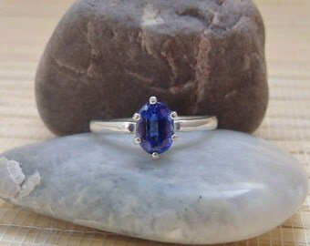 Kyanite Royal Blue Oval Ring Sterling Silver Made To Order