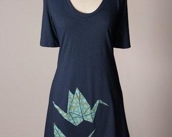 paper crane dress, origami t-shirt dress, origami paper crane tunic, origami dress