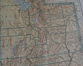 1917 State Map Utah - Vintage Antique Map Great for Framing